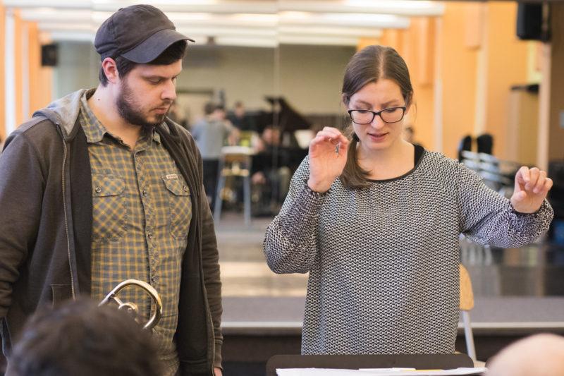 Jan Jirucha a Štěpánka Balcarová na zkoušce Concept Art Orchestra (2019) / Foto Jan Mazura